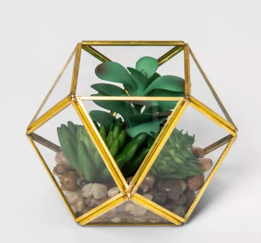 Gold terrarium filled with pebbles and green succulents