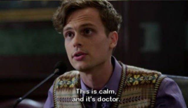 """Spencer leaning into a mic and replying with, """"This is calm and it's 'doctor.'"""""""