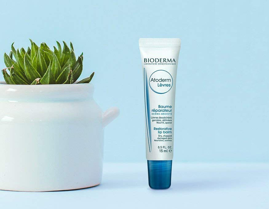 A tube of lip balm next to a plant pot