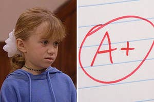 MIchelle tanner looking confused on the left, and an A+ grade on the right