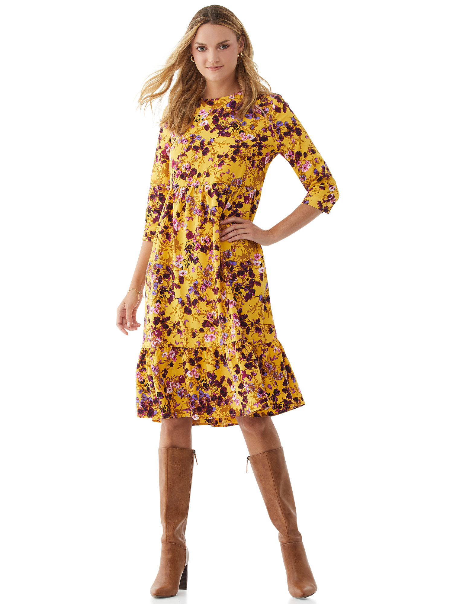 The mustard-colored dress