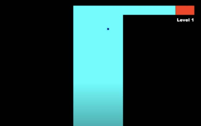 A still from Level 1 of the maze game, where there's a wide box you have to navigate through to reach the next level