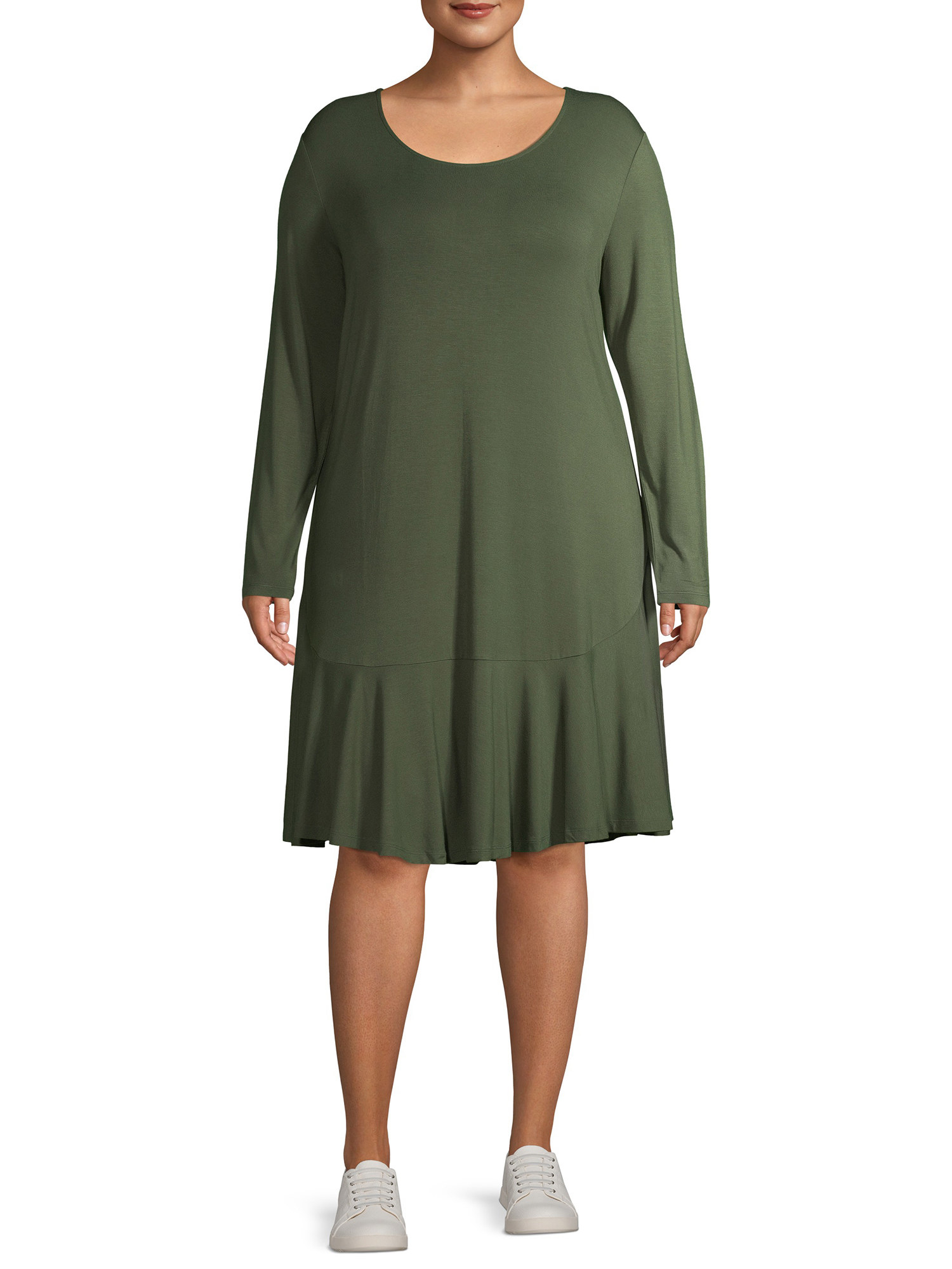 The olive-green knee-length plus-size dress