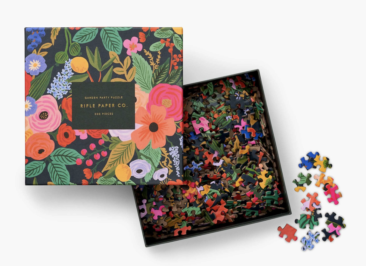 "a floral ""garden party"" puzzle in the box"