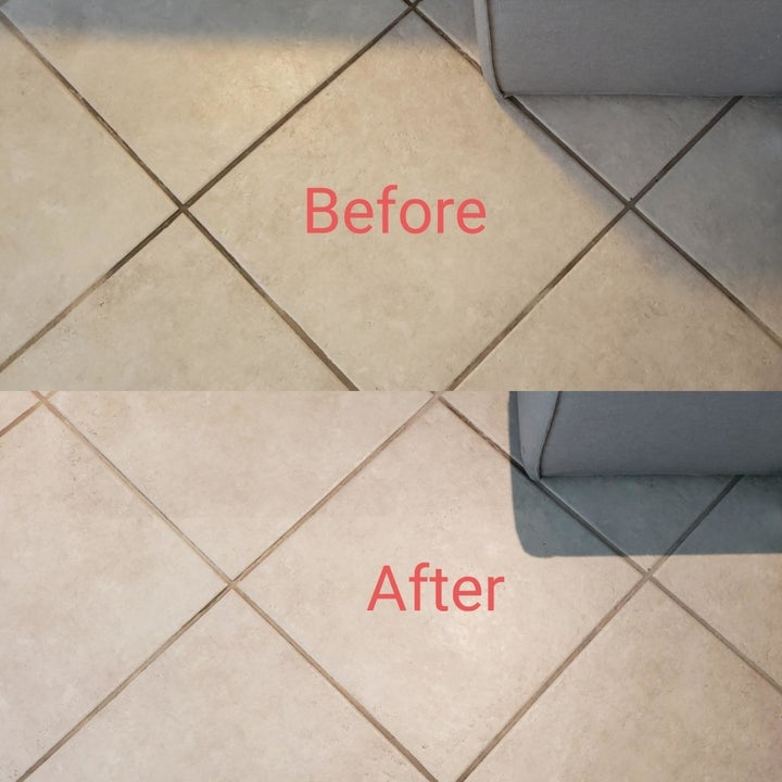 A before and after of a customer's tile floor where in the before, dirt is caked into the grout, and in the after picture, the grout is clean
