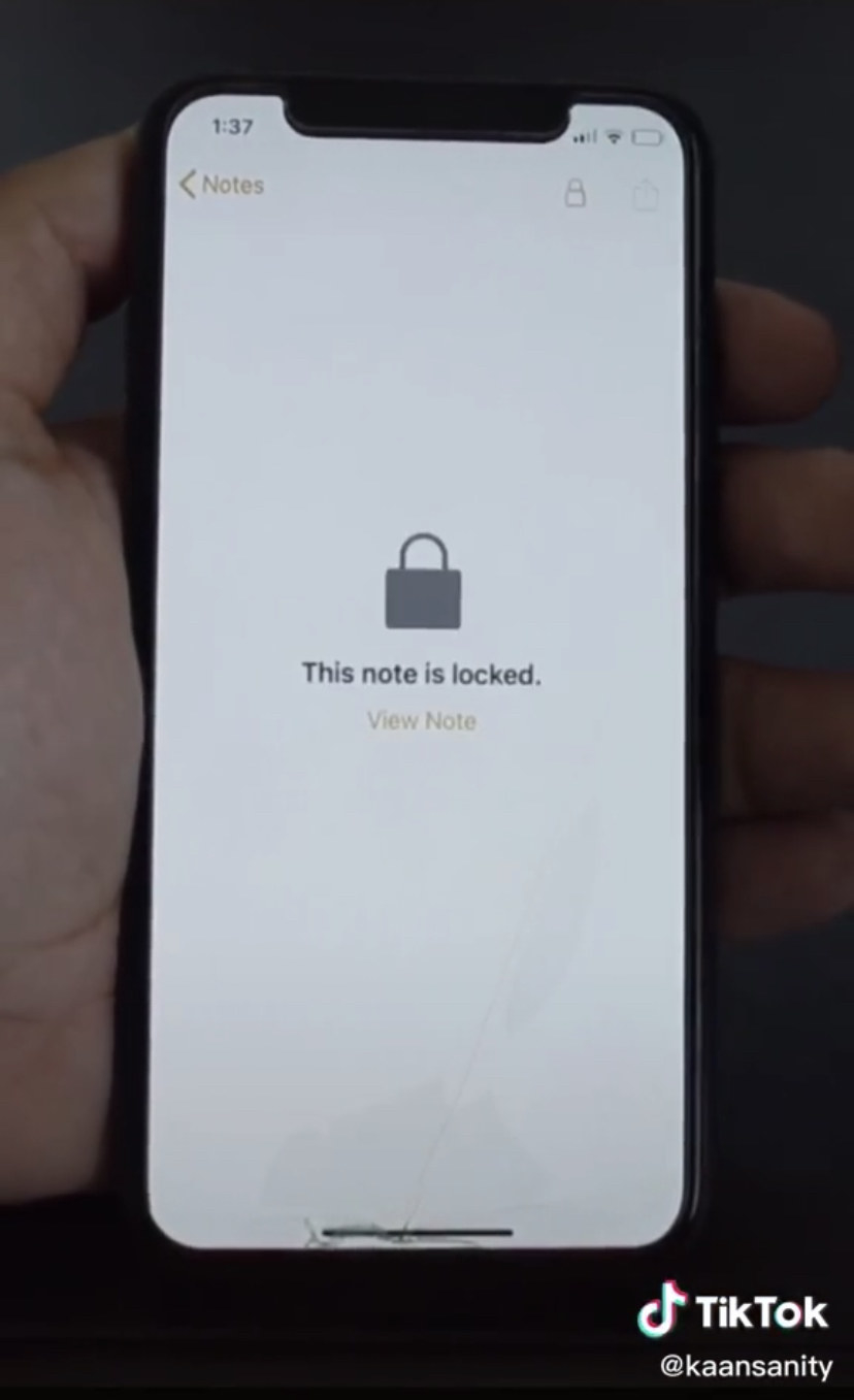 An iPhone screen showing a padlock