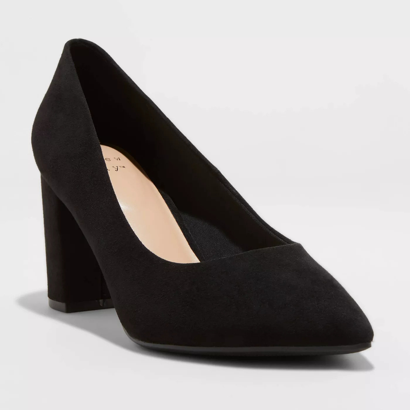 black suede pointed-toe pump with a mid-height block heel