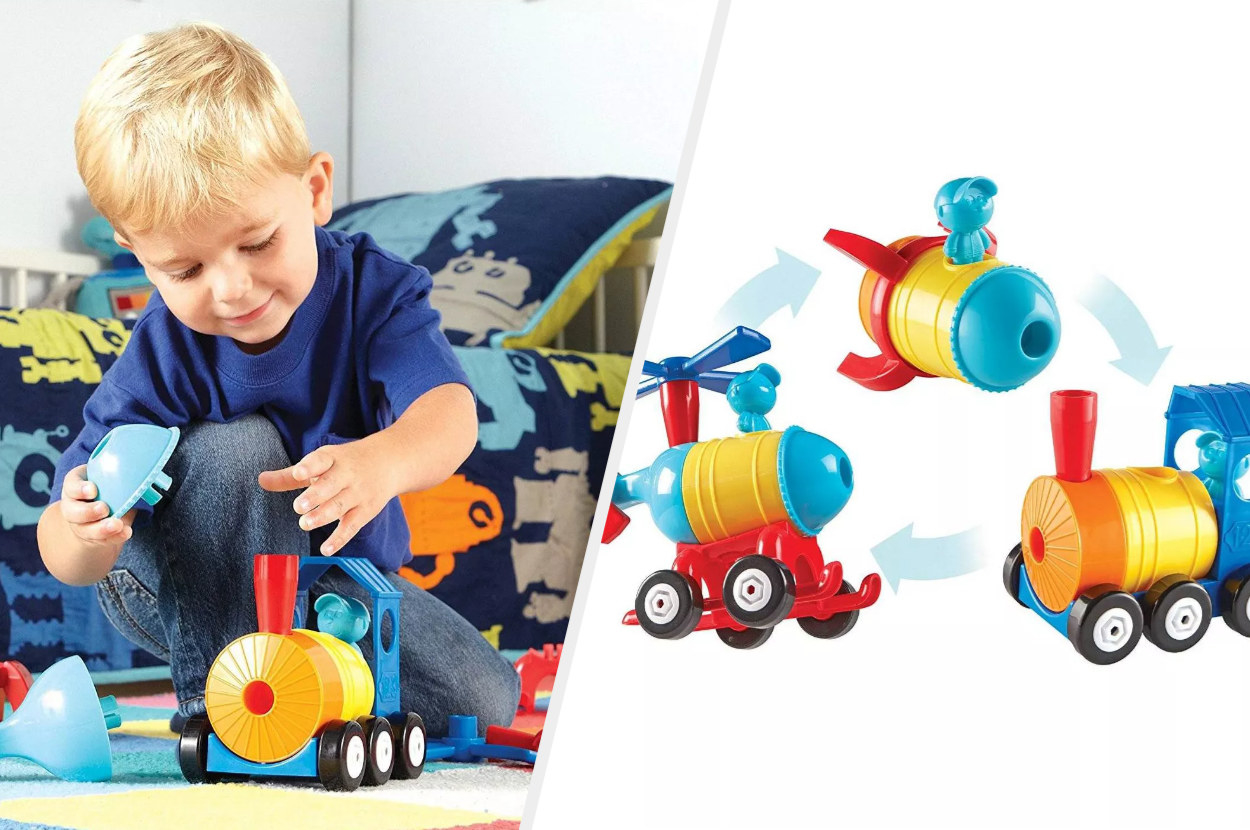 Split image of child model playing with a plastic toy train that also turns into a helicopter and a rocketship