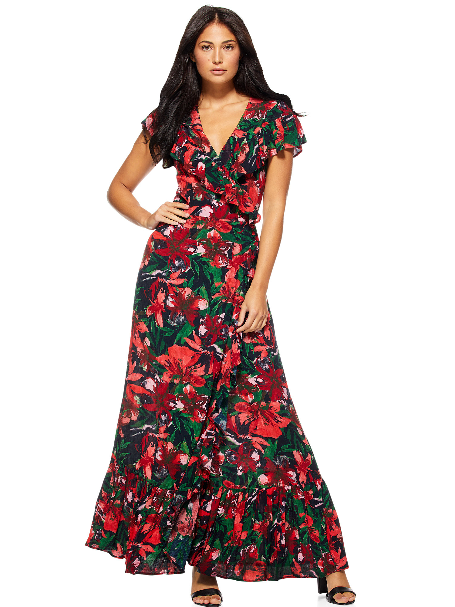 The black, red, and green maxi dress
