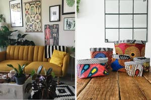 On the left, mustard yellow futon next to treasure-chest inspired coffee table. On the right, colorful, African-inspired storage baskets on a hardwood floor