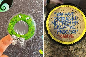 to the left: a nightmare before christmas sticker, to the right: a personalized cookie cake