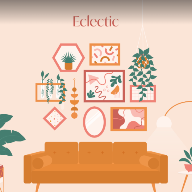 Artwork showing eclectic wall gallery with geometric frames around an orange couch