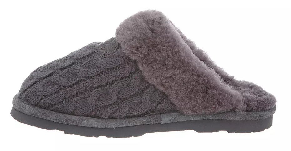 A great cable knit slipper mule with grey sheepskin lining and a grey sole