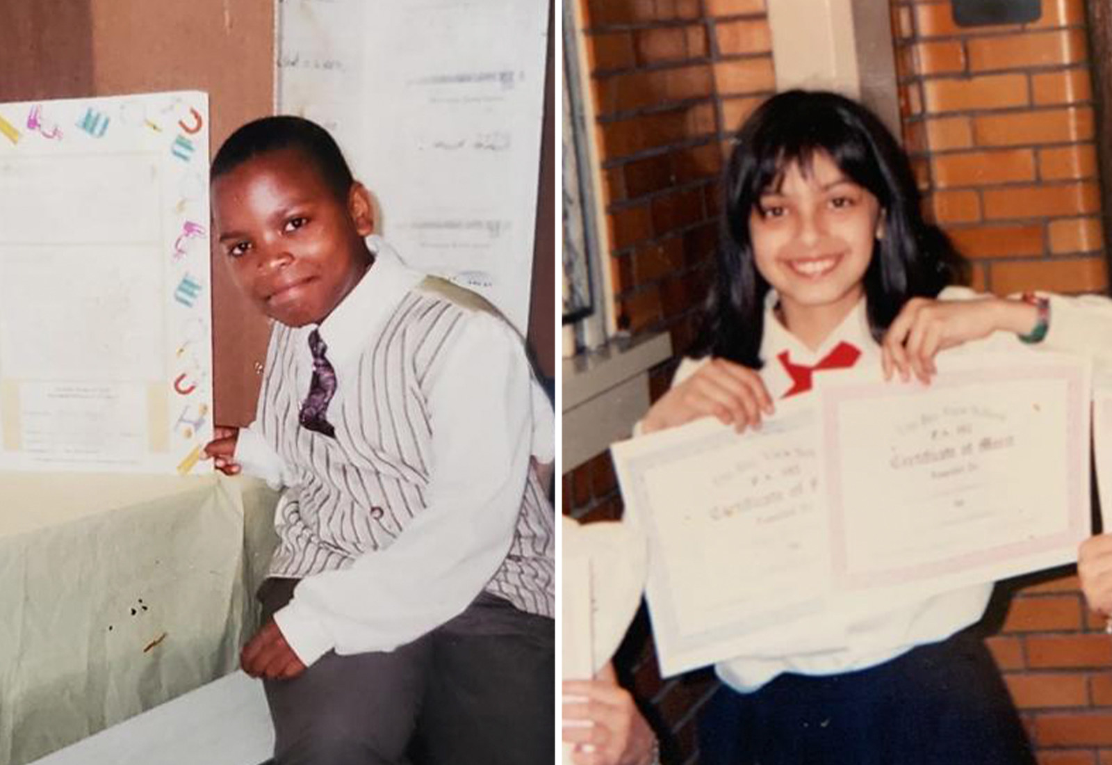 Right: Mattis smiles as a child; left: a young Rahman holds up two certificates