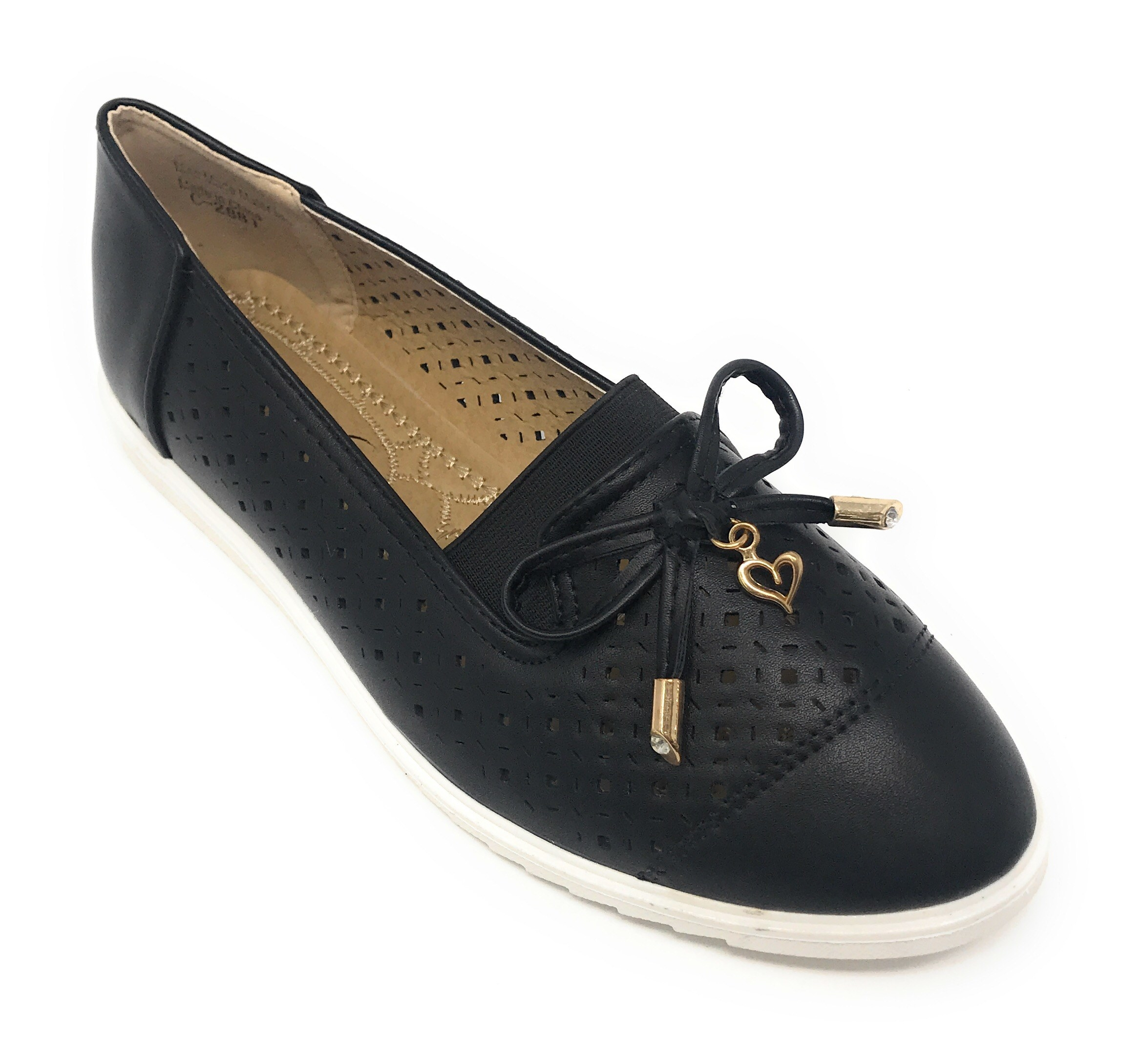 gold heart emblem with bow tie and gold tipping embossed casual flats in black