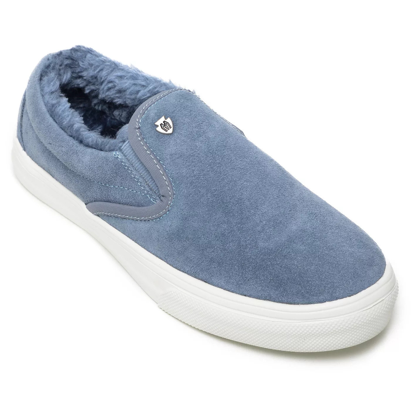 A sky blue suede upper with furry sky blue lining inside of the shoe and a white rubber sole
