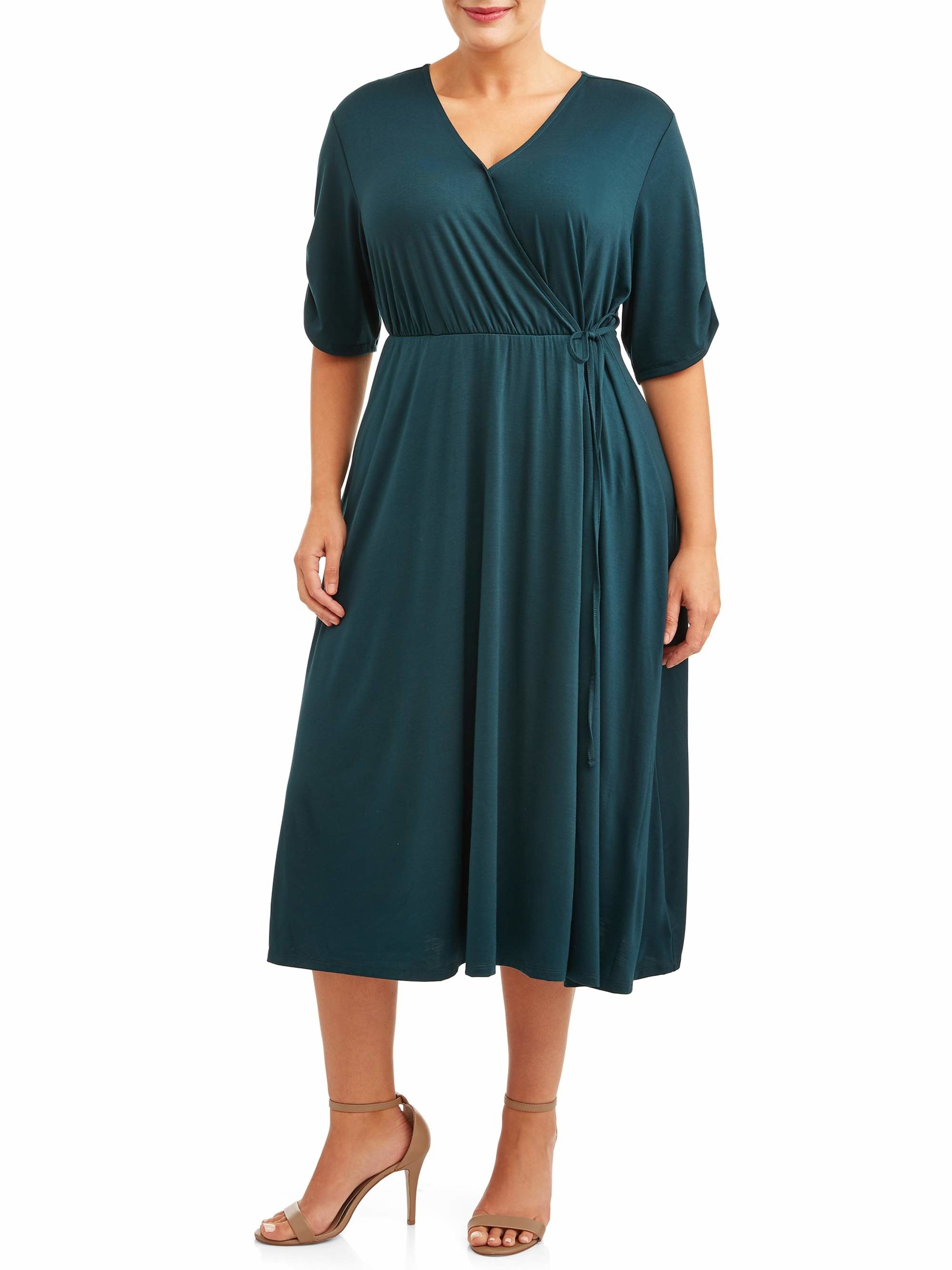 The teal midi wrap dress