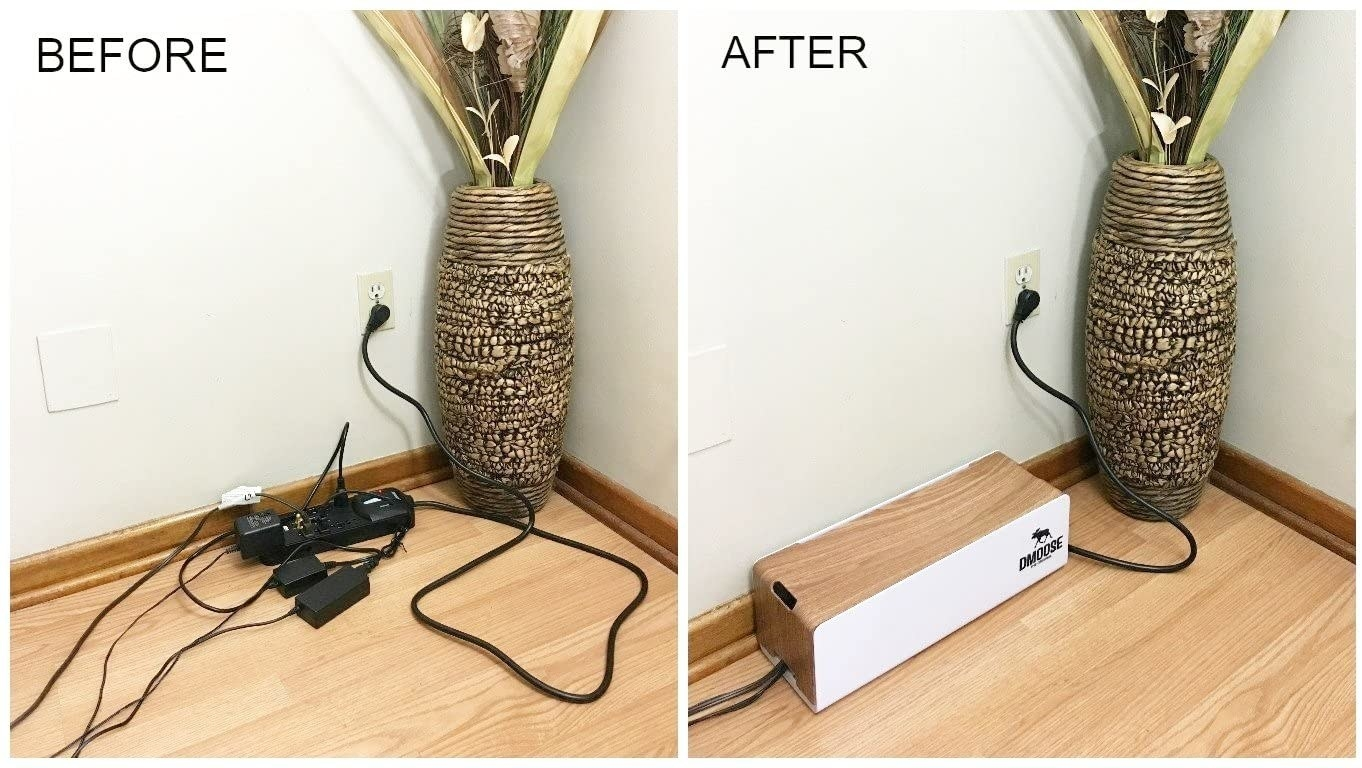 A before and after picture: on the left, a bunch of black cords tangled on the floor, and on the right, all those cords now nicely disguised in a light brown wood box with white sides.