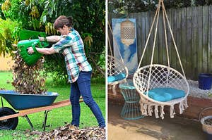 to the left: a model using oversized rake hands to clean up leaves, to the right: a hanging chair