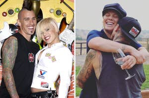 Pink and Carey Hart embracing each other at two separate events