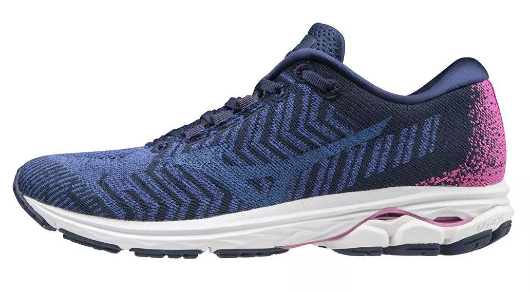 navy black and pink running shoes with white and black rubber soles