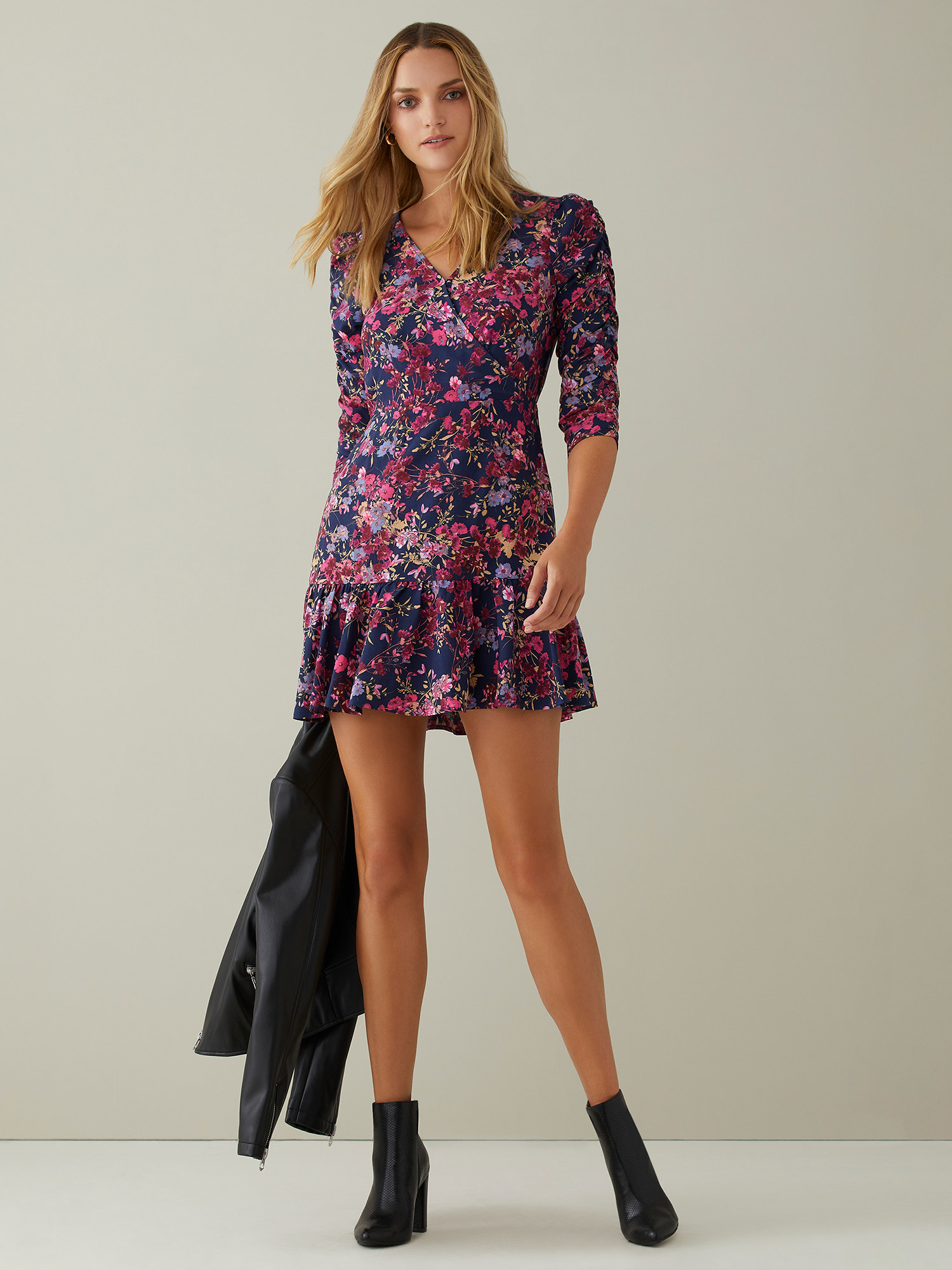 The floral-print mini dress