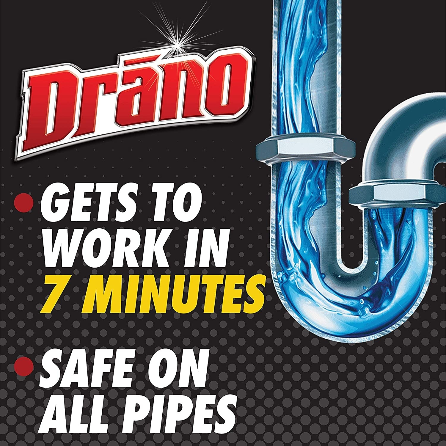 promo image that says it's safe on all pipes and works in seven minutes
