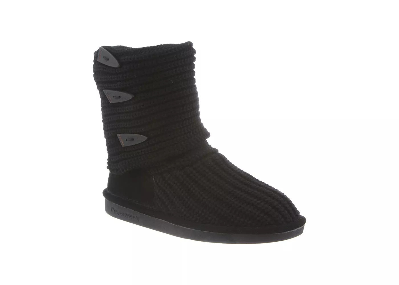 Black knit bootie with plastic tassels on the side
