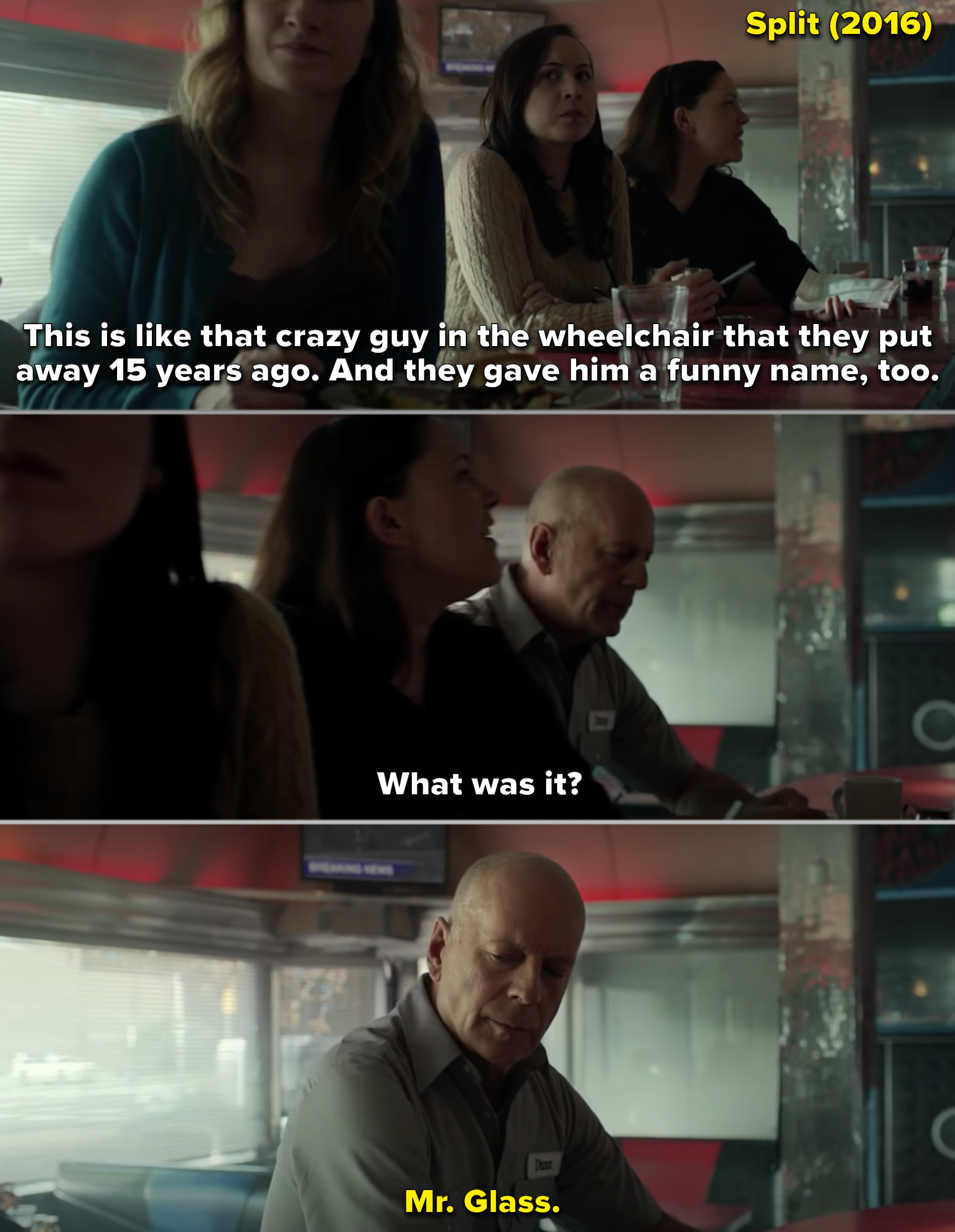 "The ending of ""Split"" when Bruce Willis's character from ""Unbreakable"" appears in the diner"