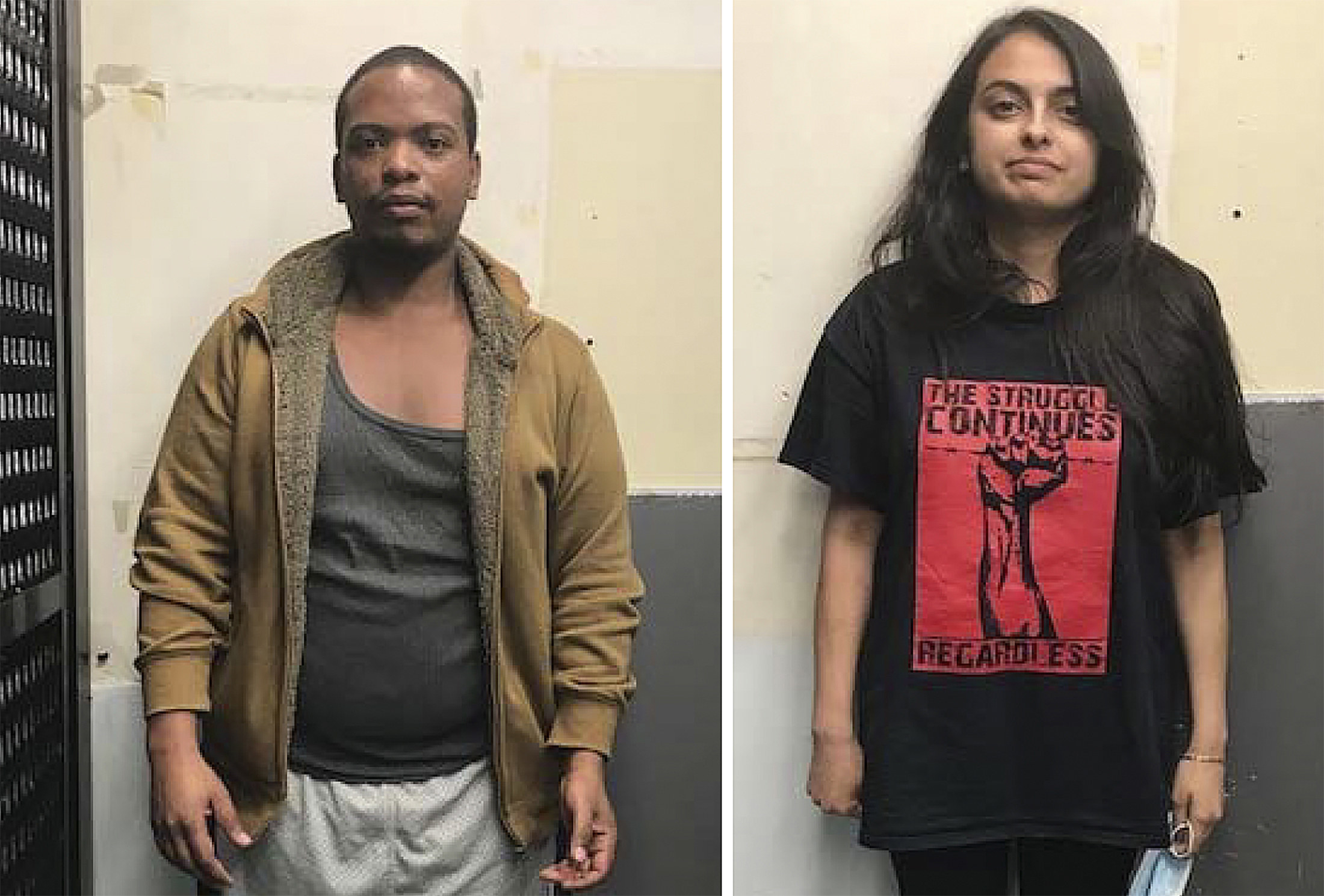 """Bookings photos of Mattis and Rahman, who is wearing a T-shirt that says """"The struggle continues regardless"""" with a picture of a fist"""