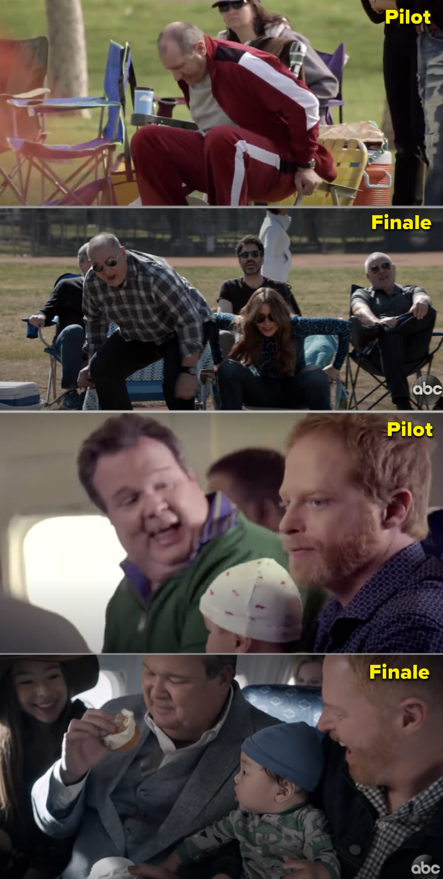 Side-by-side comparisons of the pilot and finale with Jay and Gloria at a soccer game, vs. Cam and Mitchel on a plane bringing their new baby home