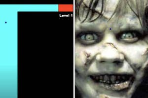 picture of the maze from the maze game then the scary Exorcist face that pops up