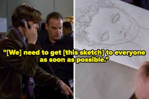 Spencer Reid trying to get his wonky sketch out to the world.