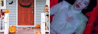 An image of the front of a house decorated for Halloween next to an image of Sunmi in a delicate lace dress in a coffin