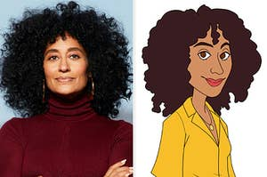"""Tracee Ellis Ross next to the animation of Rainbow Johnson from """"Black-ish"""""""