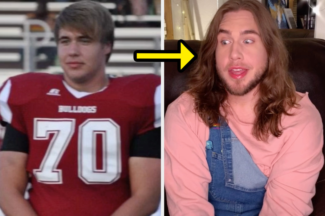 Mason wearing a football uniform on the left, and then wearing lipstick with his hair grown out long on the right.