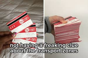 """Side by side image of Sydney's old paper transport tickets with the caption """"not having a freaking clue about the transport zones"""""""