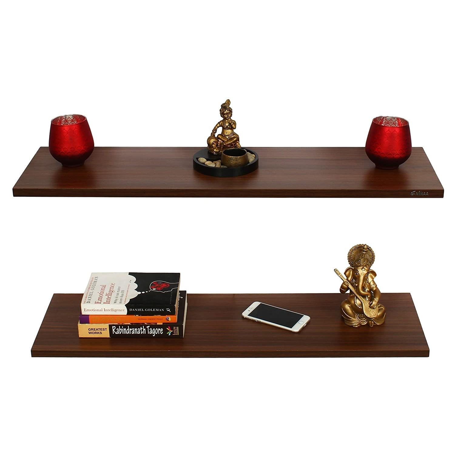 A set of 2 shelves with items on them