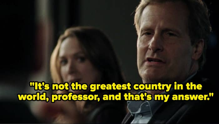 """Will McAvoy ranting about how America isn't the greatest country in the world on """"The Newsroom."""""""