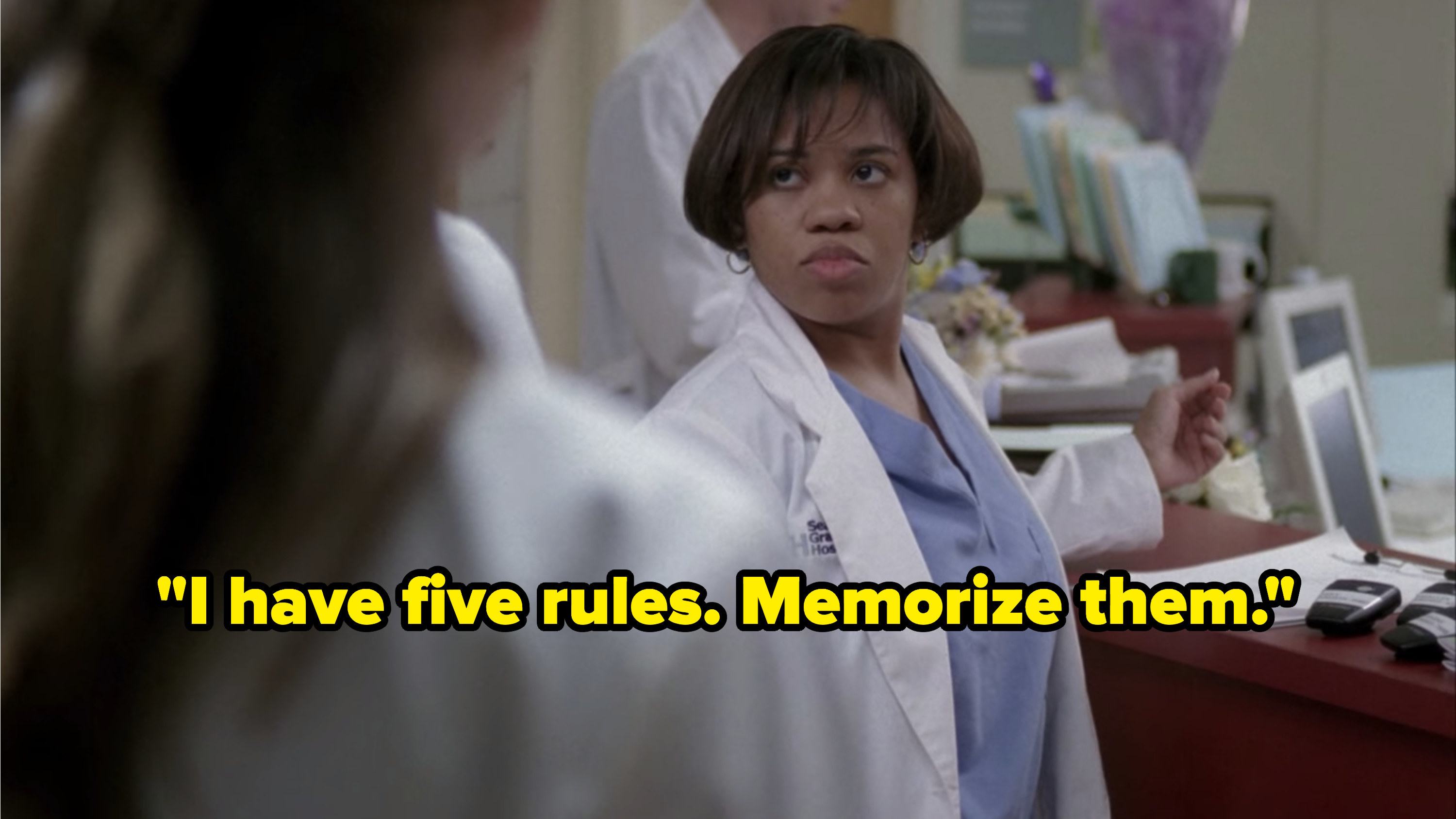 """Bailey looks at her four interns with disgust as she tells them to memorize her rules on """"Grey's Anatomy."""""""