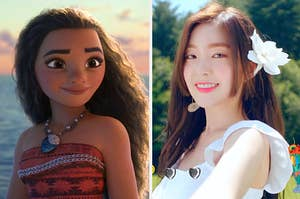 An image of Moana next to an image of Irene from Red Velvet
