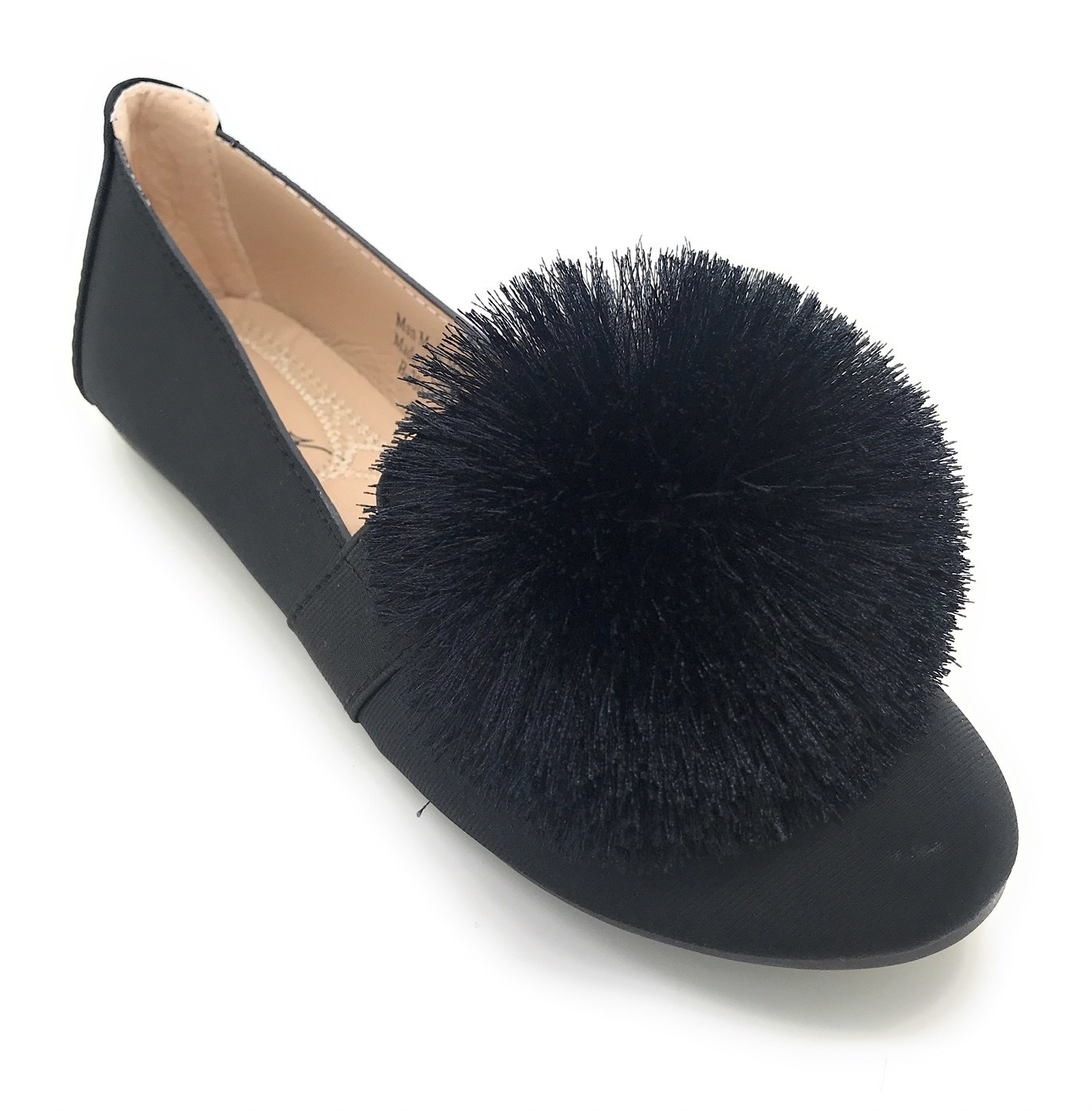 Navy ballerina flats with pom pom