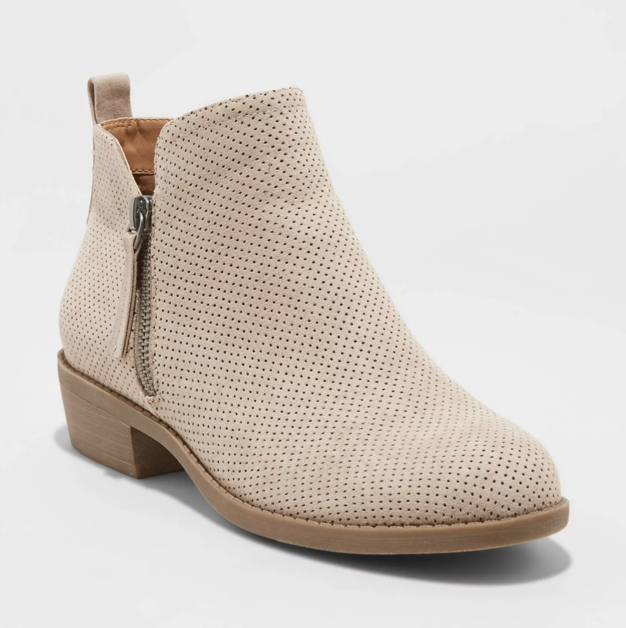 the taupe booties with a silver side zipper