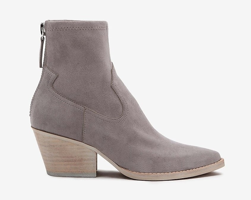 the gray boots with a back zipper and small heel