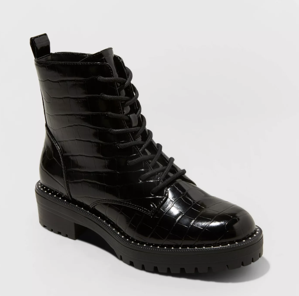 the black croc-inspired lace-up boots