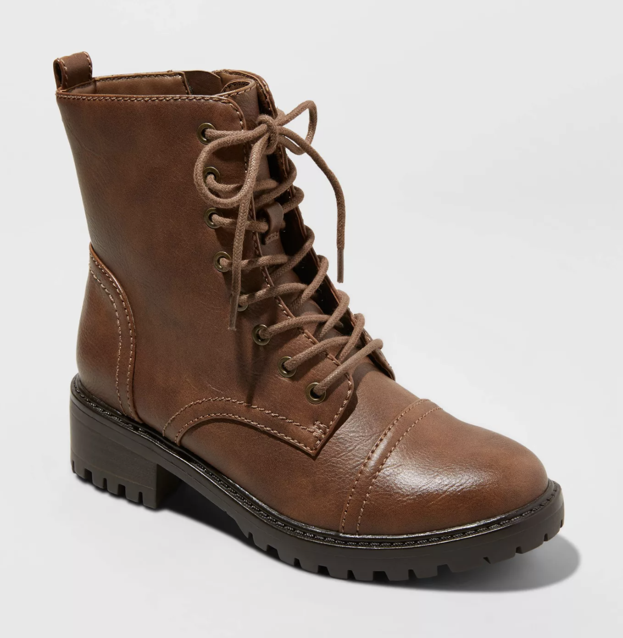 the brown lace-up combat boots