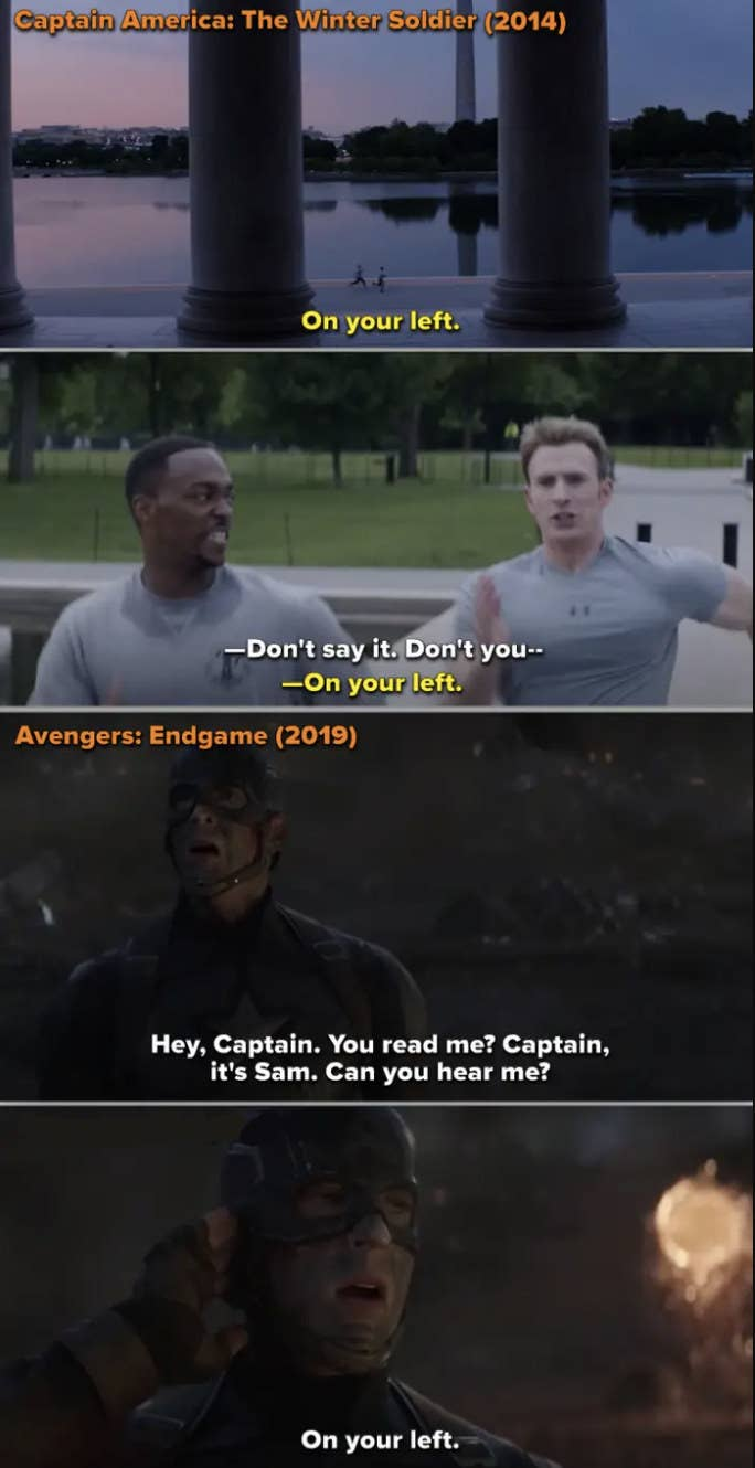 "Side-by-side of Steve running by Sam in ""Winter Soldier"" and saying ""on your left,"" vs. Sam saying ""on your left"" to Steve in ""Endgame"""