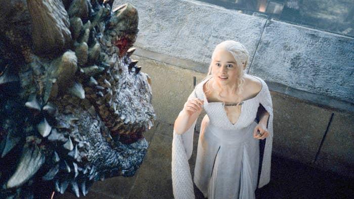 Daenerys Targaryen and a dragon.