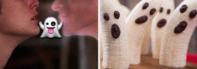 Two characters are on the left kissing with a ghost emoji in the center and bananas dressed as ghosts on the right