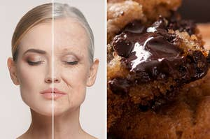 A young and old version of the same woman and a gooey chocolate chip cookie